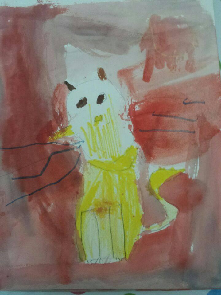 كليم مجيد 4 سنوات - لوحة قطة كما تعلمها من هيا نرسم